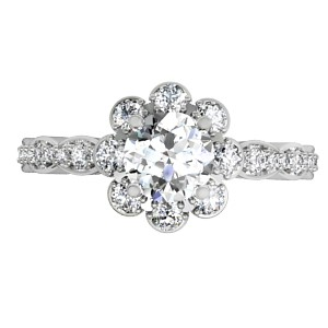 Scalloped Flower Engagement Ring