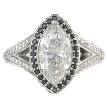 Marquise Halo Engagement Ring with Double Bands - top view