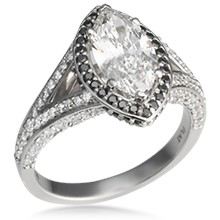 Marquise Halo Engagement Ring with Double Bands