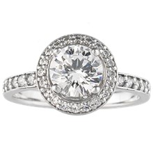 Fleur De Lis Halo Engagement Ring - top view