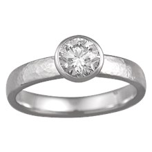 Modern Hammered Engagement Ring - top view