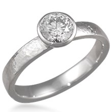 Full Bezel Hammered Engagement Ring