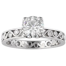 Millegrain Curls Engagement Ring - top view