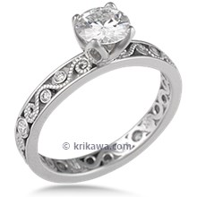 Millegrain Curls Engagement Ring