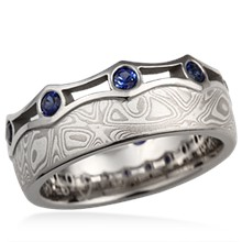 Mokume Coronet Diamond Wedding Band