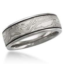 Mokume Wedding Band with Darkened Groove