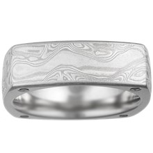Square Mokume Wedding Band with Diamonds - top view