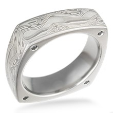 Square Mokume Wedding Band with Diamonds