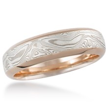 Mokume Beveled Wedding Band