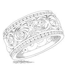 Double Diamond Ornate Infinity Wedding Band