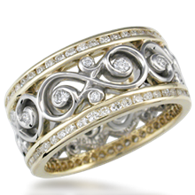 Double Diamond Ornate Infinity Wedding Band - top view