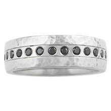 Hammered Flush Diamond Wedding Band - top view