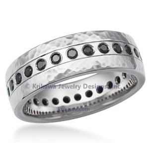 Hammered Flush Diamond Wedding Band