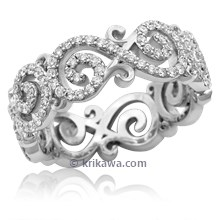 Carved Infinity Pave Wedding Ring