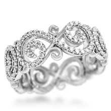 Carved Infinity Pave Wedding Band
