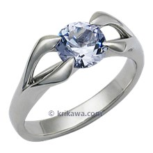Carved Branch Modern Engagement Ring with Blue Sapphire