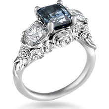 Floral Bouquet Three Stone Engagement Ring