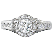Vintage Style Engagement Ring with Fleur de Lis Halo - top view