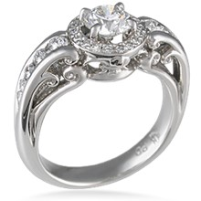 Vintage Style Engagement Ring with Fleur de Lis Halo