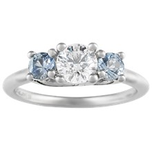Trellis Three Stone Engagement Ring - top view