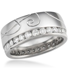 Hand Engraved Diamond Channel Side Wedding Band