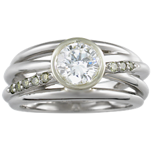 Saturn Engagement Ring with Diamonds - top view