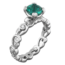 Delicate Leaf Engagement Ring with Emerald