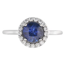 Cathedral Round Halo Pave Engagement Ring - top view