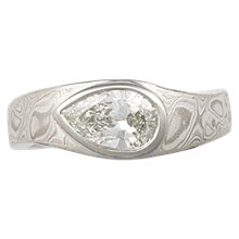 Mokume Droplet Solitaire Engagement Ring - top view