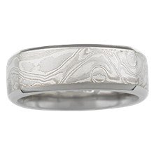 Cushion Shaped Mokume Band with Beveled Edges - top view