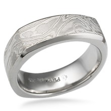 Cushion Shaped Mokume Band with Beveled Edges