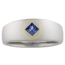 Square in Circle Wedding Band - top view