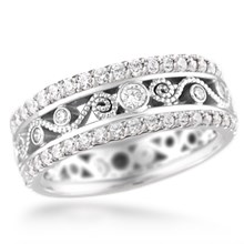 Double Diamond Millegrained Curls Wedding Band	 - top view