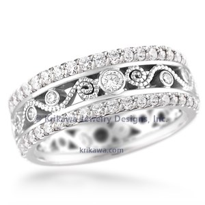 Double Diamond Millegrained Curls Wedding Band