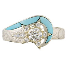 Mokume Shooting Star Engagement Ring - top view