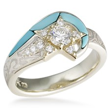 Mokume Shooting Star Engagement Ring