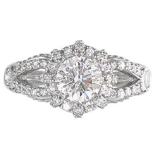Micro Pave Crown Engagement Ring - top view