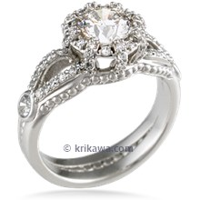 Micro Pave Crown Engagement Ring