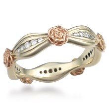 Flower Diamond Wedding Band