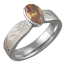 Mokume Solitaire Tapered Engagement Ring with Orange Sapphire