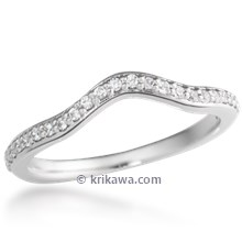 Bead In Channel Curved Wedding Band 0.13ctw