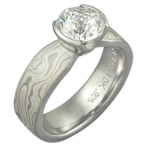 Winter Mokume Solitaire Tapered Engagement Ring