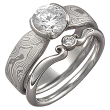 Mokume Solitaire Tapered Engagement Ring with Carved Mini Curls Band