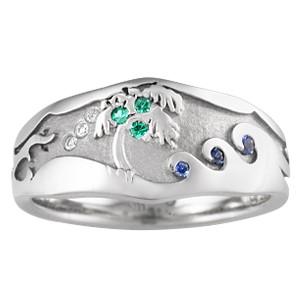 Palm Tree Beach Wedding Ring
