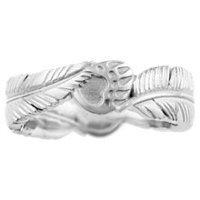 Feather & Bear Claw Wedding Band - top view