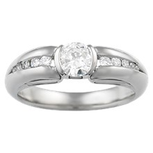 Carved Curls Light Drop Engagement Ring - top view