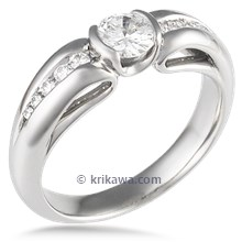 Carved Curls Light Drop Engagement Ring