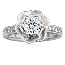Vintage Rose Engagement Ring - top view