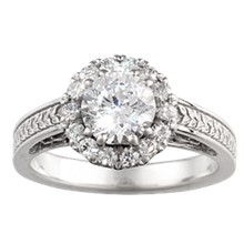 Vintage Garden Fountain Engagement Ring - top view