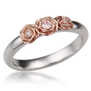 Rose Trio Wedding Band with Diamonds